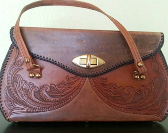 Tooled Leather Hippie Bohemian 60s 70s Purse/handbag