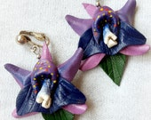 1980s Vintage Orchid Earrings - Leather Clip-On Earrings