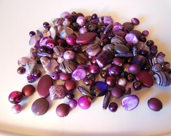 Glass Beads-Purple Glass Beads-Destash-Jewelry Beads-Supplies-Round Beads-Crafts-Jewelry Supplies-Over 250 Beads
