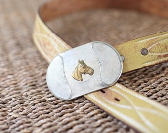 vintage patina silver horse buckle tooled yellow leather belt & buckle 30