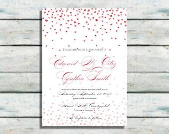 Sweet Hearts Wedding Invitations, Modern wedding invites, Red invitations, Wedding invitations