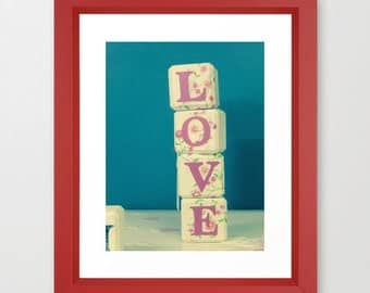 Love print. Love dice. Pink and blue photograph. Children's bedroom wall art. For her. Gift for mom. Wedding gift ideas. Word art. Romance