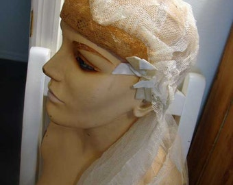 Antique wedding veil, vintage wedding veil, flapper style cap wedding veil