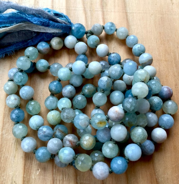 Throat Chakra Mala Beads Aquamarine Stress Relief Meditation Beads  Hand Knotted Silk Sari Tassel Necklace , Vissuddha Chakra