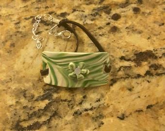 Springy Green and White Swirl Bracelet