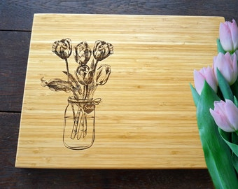 Tulip in mason jar cutting board Bridal shower present