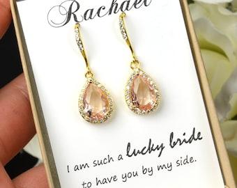 Bridesmaid Jewelry Weddings Bridesmaid Earrings Bridesmaid Gift Bridal Earrings Jewelry Wedding Jewelry blush rose gold peach