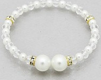 Awesome Pearl Cuff Bracelet, Rhinestone and Crystal Accented Bracelet, Pearl Bracelet, Coil Bracelet, Pretty and Popular