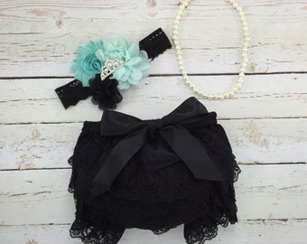 3 pc SET- Aqua / black Baby Girl Bloomer - Lace Baby Bloomer / headband / pearl necklace