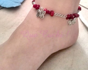 Ankle chain in silver without nickel with red chips Gorgon and butterfly charms
