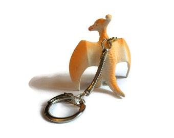 Retro Toy Dinosaur Key ring in ORANGE with keychain, Pterodactyl pendant,  Unique Gift Idea made with one of Dad's old toys