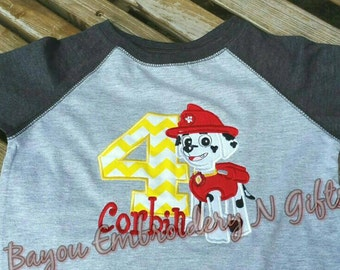Pawpatrol Marshall birthday shirt or onesie with number and name