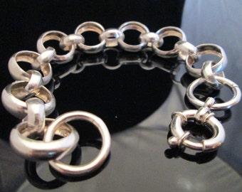 Stunning Half Round Fine Silver Belcher Style Bracelet