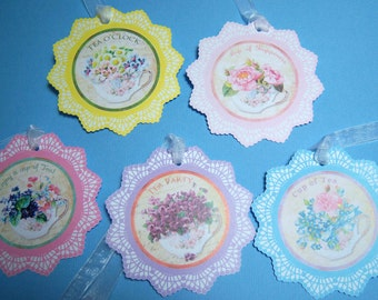 Gift tag set of 5 doily teacups with flowers