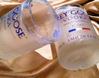 Set of 2 Hand Crafted Grey Goose Drinking Glasses