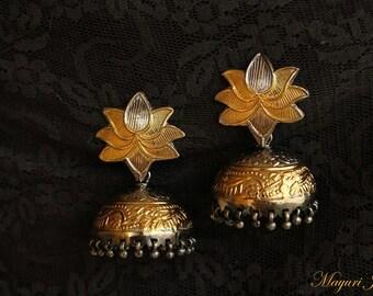 Lotus Jhumka Dual-tone