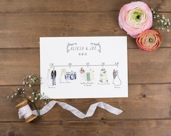 Illustrated Wedding Schedules - schedule of the day with watercolour illustrations - unique wedding stationery