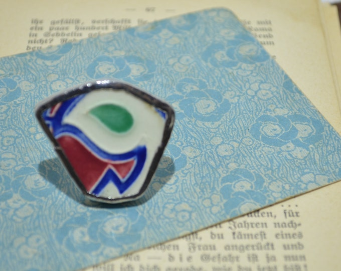 Porcelain big ring made from handpainted european bowl