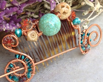 Hair Comb, Hair Barrette, Bohemian Hair Comb, Boho Chic, Boho Hair Comb, Hair Pick, Bohemian Wedding Hair Comb, Gifts For Her