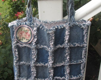 Blue Denim and Pink Flannel Tote Bag
