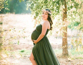 Olive Green Maternity Gown Ready to Ship, Maternity Dress Photography Prop,