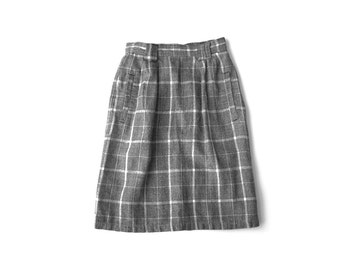Charcoal Gray & White Check Pattern High Waist Secretary Work Pencil Skirt with Pockets | XS S | Vintage