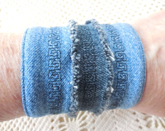 Denim Bracelet with greek key stitches on island, recycled jeans cuff, upcycled earth friendly, vintage jean jewelry, for 6 1/4 inch wrist