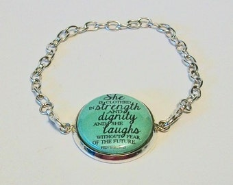 Light Green Proverbs 31:25 She is Clothed in Dignity and Strength Silver Chain Fashion Bracelet