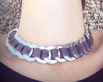 leather and metal necklace