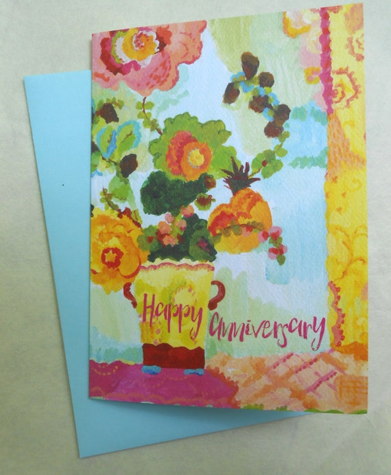 Aqua Butter Flowers happy anniversary card by Kimberly Hodges, happy anniversary greeting card, colorful anniversary card, happy card, aqua