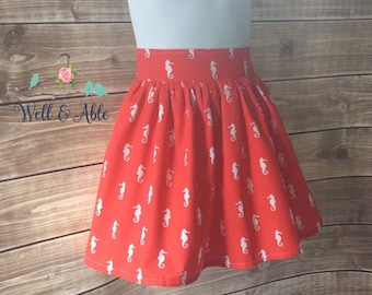 Red seahorse skirt