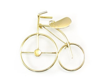 Vintage Tricycle Brooch, Pendant, Gold Tone