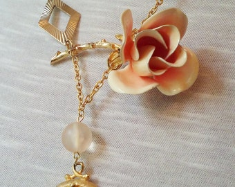 upcycled repurposed brooch necklace ~ Coming up Roses