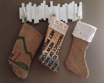 Upcycled potato sack burlap and vintage lace holiday stocking Eco friendly holiday decor and gifts