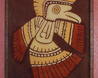 60s70s Vintage Batik Pre-Columbian-Style Bird Framed Wall Art