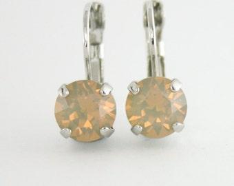 Sand opal earrings,Swarovski sand opal,opal earrings,beige earrings,taupe wedding,leverback earrings,stud earring,crystal earrings,Swarovski