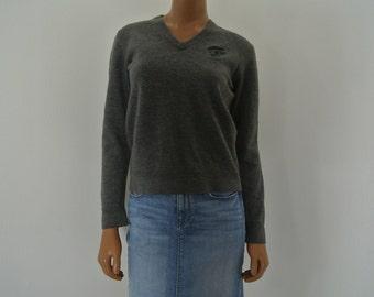 GUCCI Wool Sweater Heather Grey Pull Over Logo Crest Small/Medium