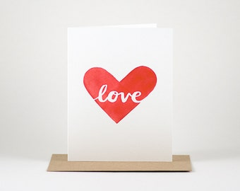 Love in a Heart - Watercolor Greeting Card