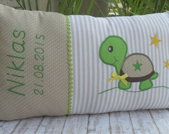 Personalised name cushion, cushion, birth, baptism, motif turtle, in beige, made of cotton, a great cuddly pillow for children.