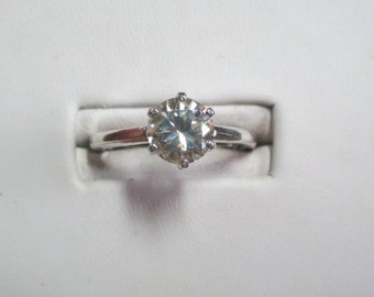 Ladies 6 prong genuine 1.19ct moissanite solitaire sterling ring