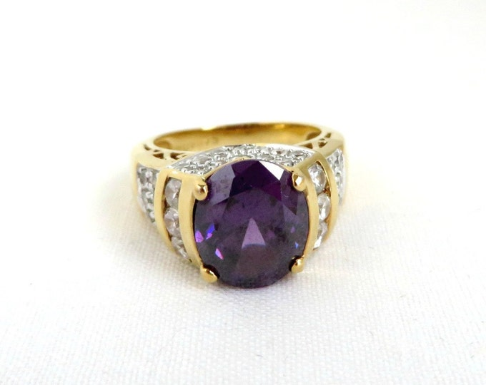 Amethyst CZ Gold Plated Silver Ring, Vintage Purple CZ Sterling Silver Ring, Engagement Ring, Size 6