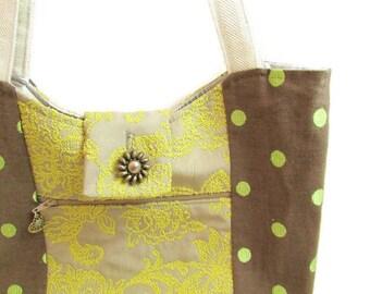 Handmade Polka Dot and Tapestry Fabric Purse