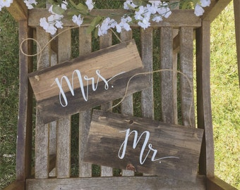 Mr & Mrs Chair Signs   Wedding Chair Signs   Bride and Groom Chair Signs