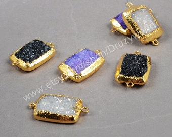 Fashion 20x15mm Special Rectangle Back Front Facted Gold Plated Black Purple Titanium AB Druzy Connector Natural Drusy Gemstone Craft G0765