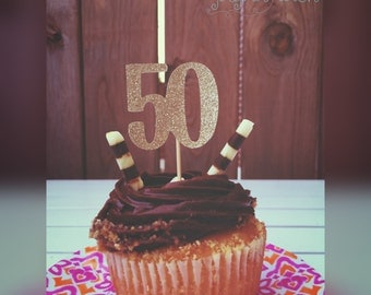 50th cupcake toppers, 50th birthday decor, 50, cupcake toppers, cupcakes, 50th birthday decorations, party decor, party decorations
