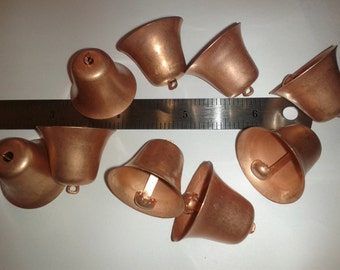 "Vintage Lot of 10 Copper over steel ringing bell pendants/charms 1"" diameter # 2006MR"