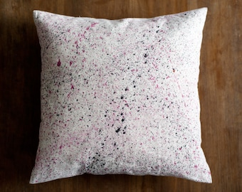 Eco friendly pillow cover pink splatter on natural hemp & organic cotton, patterned cushion cover, throw pillow, home decor gift