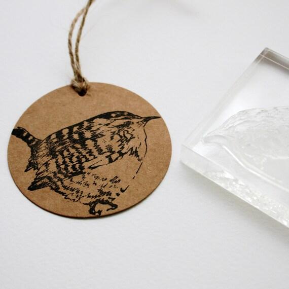 Wren Stamp - Wall Art Stamp - Bird Stamp - Clear Stamp - Wren Bird Stamp - Little Stamp Store