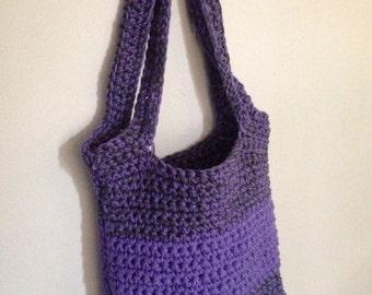 Crochet Purple & Gray Tote