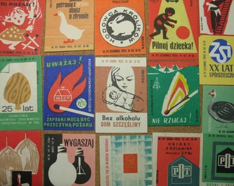16 Vintage Mid Century Matchbox Labels from POLAND  Matches Box Phillumeny  MB115